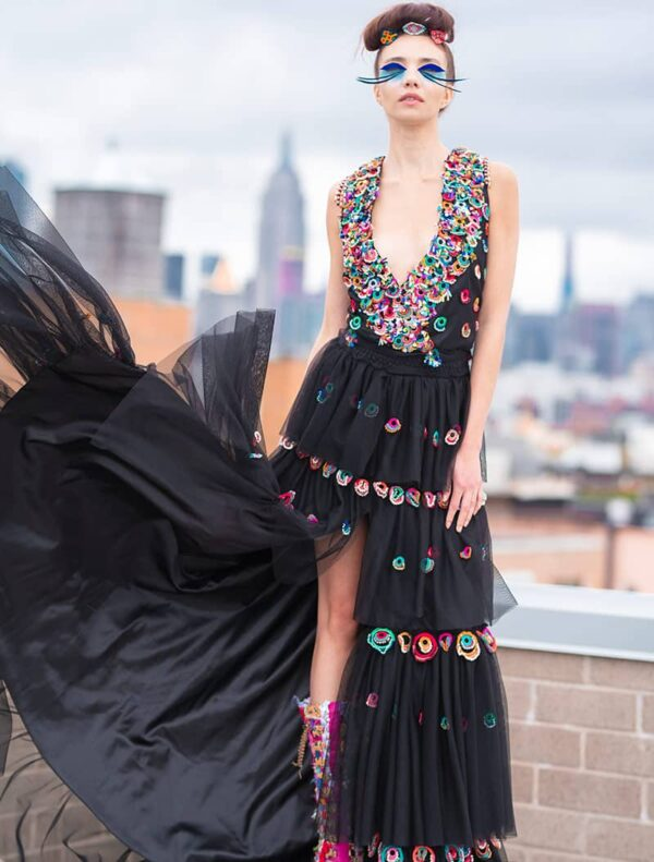 Black Red Carpet Dress With Rings - Hand Beaded