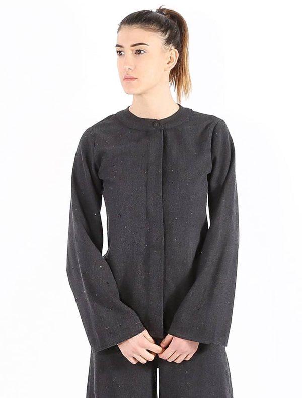 100 % Raw Silk Shirt – Greyish Black