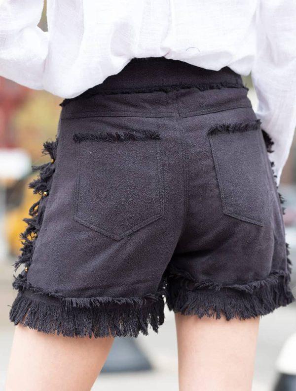100 % Raw Silk Beaded Short - Black