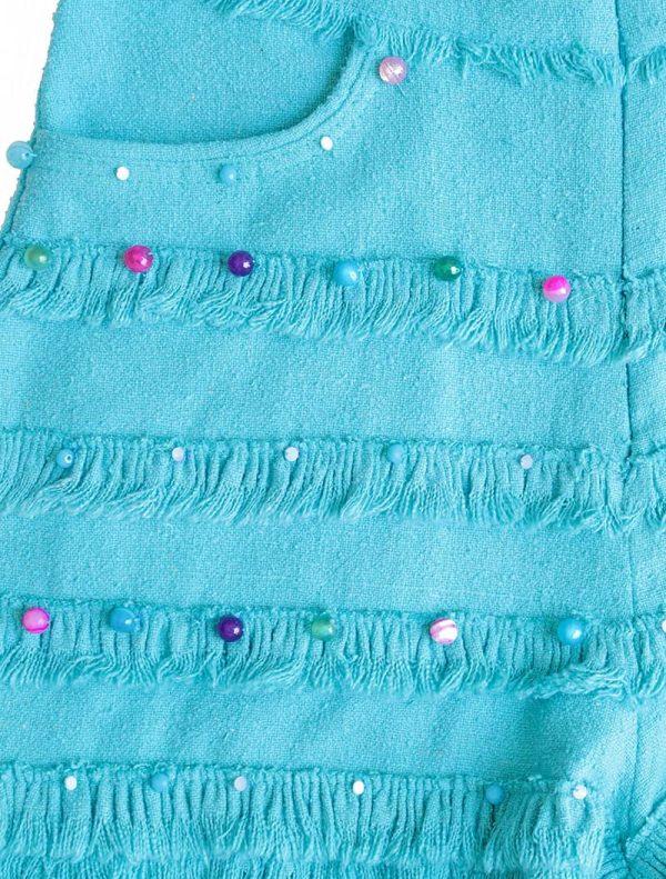 100 % Raw Silk Beaded Short - Turquoise